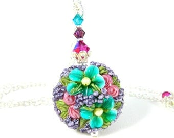 Teal Purple & Pink Floral Pendant Necklace, Mother's Day Gift, Colorful Botanical Necklace Nature Jewelry Lampwork Necklace Romantic Jewelry