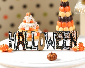MTO -Decorative Halloween Sign, Handpainted in autumn colours and bones! - Miniature Decoration in 12th Scale for Dollhouse