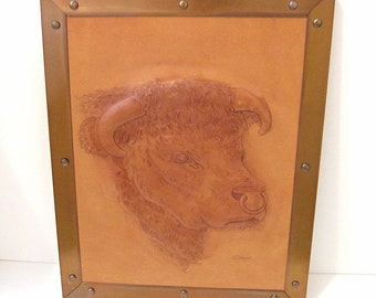 Vintage Leather Picture, Bull Head Hand Tooled, Copper Frame, Signed