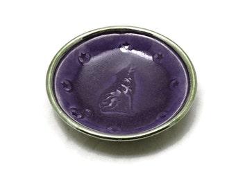 Raku Wolf Bowl Handmade Ceramic  Pottery