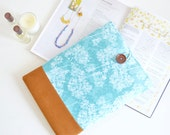 Hydrangeas Laptop Case, Floral Laptop Sleeve, Laptop Cover Teal Flowers Custom Sized Computer Cases
