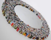 SMALL colorful round mirror, wall art- made from recycled magazines, blue, green, red, purple, pink, yellow, orange, detail, unique, gift