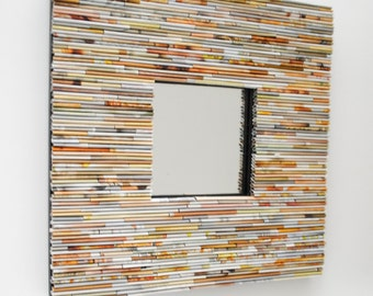Cream, white & tan, square mirror - made from recycled magazines, pastel, white, cream, grey, neutral, unique, interior design