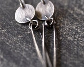 Beautiful handmade fine silver disc and hammered sterling silver stick earrings