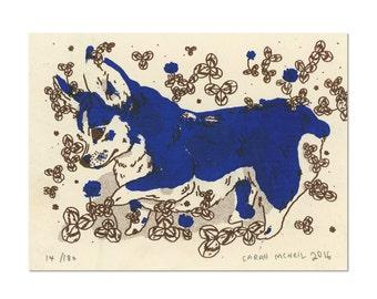 Corgi Print on Off White Card