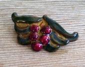 Vintage Enamel Copper Pin Brooch, Leaf and Berries Pin, Copper Enamel Pin, Vintage Pin Brooch