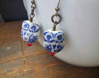 Porcelain Owl Dangle Earrings Ceramic Bead - Love Birds No. 2