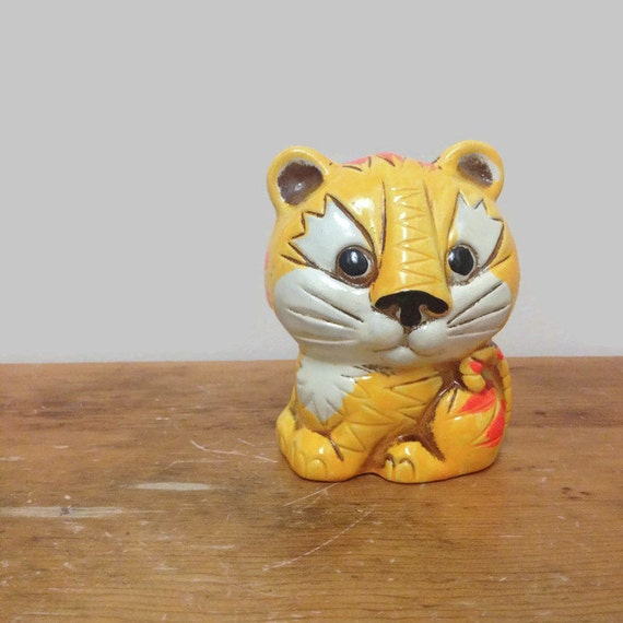 Retro Chalkware Tiger Bank - Made in Japan - Small Vintage Piggy Bank