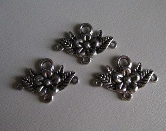 Floral Charm Holder, Antique Silver C1009