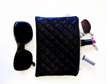 Zipper Clutch, Black Faux Leather, Quilted, Jewelry Case, Cosmetics Case, Makeup Bag, Phone Case, Sunglass Case
