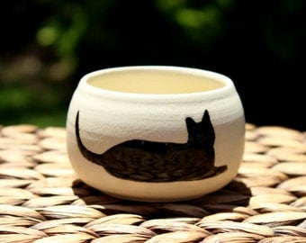 Ceramic CAT Cup - Cream Handmade Porcelain Cat Cup - Black Cat Silhouette Pottery - Ready To Ship
