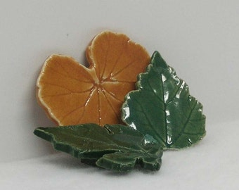 Porcelain Trio of Leaf Magnets Set of 3