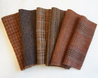 Warm Brown- Chestnut - Rust Hand Dyed Felted Wool in a Beautiful Collection a Perfect Rug Hooking and Applique Wool