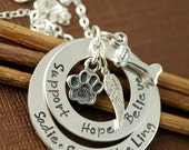 ON SALE Dog Paw Necklace   Personalized Sterling Silver Necklace, Animal Lover, Dog Paw, Dog Bone