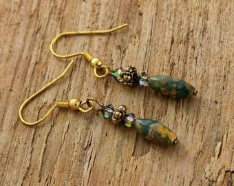 Natural Gemstone Dangle Earrings - Rhyolite and Crystal Earrings