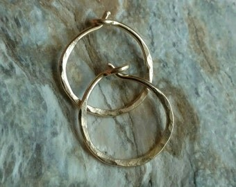 Hammered textured 14k yellow gold filled small hoop earrings - handmade jewelry