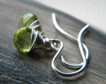 Tiny green peridot gemstone bright sterling silver earrings - Fall Fashion - handmade wire wrapped jewelry