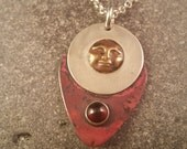 Red Sky at Night Goddess Pendant in Sterling, Copper, Fine Silver and Brass