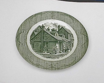 """6 Vintage  The Old Curiosity 10"""" Plates 1960's Green"""