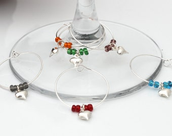 Silver plated puffy heart wine glass charms- Set of 6 mixed colours- Hostess Gift, wedding favour