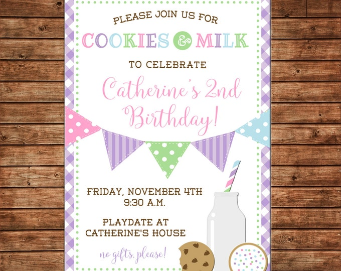Girl Boy Cookies and Milk Bunting Birthday Gingham Invitation - DIGITAL FILE