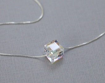 Swarovski Cube Necklace, Sterling Silver Necklace, Layering Necklace, Crystal Cube Necklace, Minimalist Necklace, Bridesmaid Necklace