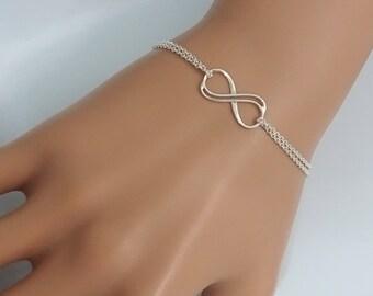Sterling Silver Infinity Bracelet, Gift for Her, Christmas Gift, Girlfriend Gift Bracelet, Friendship Bracelet, Christmas Gift Bracelet