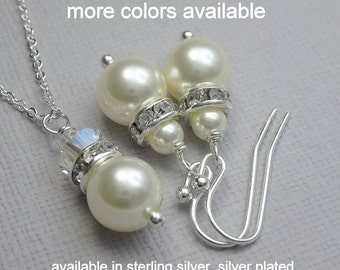 CUSTOM COLOR Set of 9 Bridesmaid Gift,  Swarovski Ivory Cream Pearl Necklace and Earring Set Bridesmaid Jewelry Set of 9 Wedding Jewelry Set