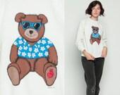 80s Sweatshirt TEDDY BEAR Shirt Tropical Sunglasses Heart Print Off White Raglan Sleeve Graphic Kawaii Vintage 1980s Slouchy Large
