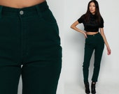 Bongo Jeans Skinny Jeans High Waisted Jeans Green 80s Denim Cigarette Pants Colored MOM 1980s Vintage Hipster Small