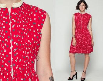 Heart Dress 60s Day Mini Cotton Novelty Print Floral Red 1960s Vintage Full Skirt Fit and Flare High Waist Sleeveless Folk Medium