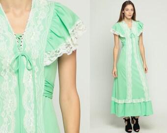 Mint Green Dress 70s Maxi Prairie LACE Boho Tiered Flutter Sleeve 1970s Bohemian Wedding Empire Corset Lace Up Long Vintage Medium Large
