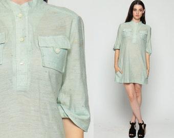 Mod Dress Shirtdress 70s Shift Button Up Mini Mint Green Boho 1970s 3/4 Sleeve Vintage Bohemian Pastel Shirt Dress Flecked  Large