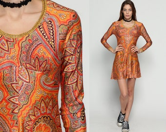 Boho Mini Dress 70s Paisley Babydoll 60s Mod PSYCHEDELIC Hippie Bohemian Empire Waist Gogo Vintage Orange Gold Long Sleeve Extra Small xs