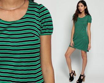 Puff Sleeve Dress Striped Shift Dress 60s Mod Mini Hippie Vintage Green Black 70s Gogo Boho Twiggy Sixties Short Sleeve Medium Large