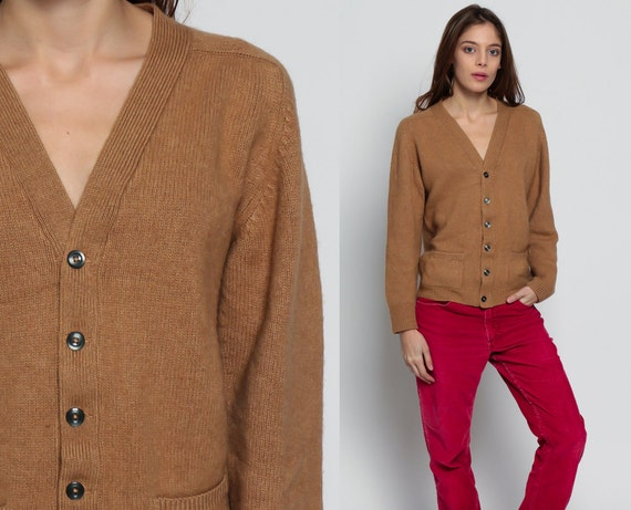 Camel Hair Sweater Hipster Cardigan Brown 70s Button Up Boho