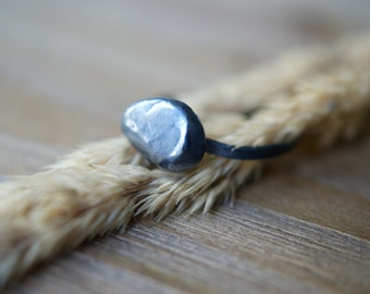 Small, Oxidized Pebble Ring