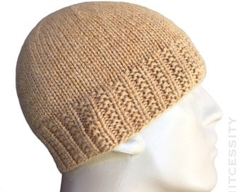 Loro Piana Cashmere Camel Beige Knit Hat Beanie, 100% Pure Italian Cashmere Custom Sizes Hand Knit for Adult Men Teens Boys // VARICK //