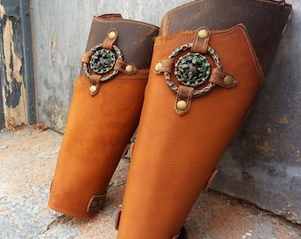 Primitive Two Tone Brown Leather Peaked Bracers with Antiqued Copper and Black Concho & Etched Brass Ring
