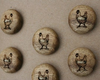 Wood Chicken Buttons- Oregon Myrtlewood- Made To Order- Handmade Wooden Buttons- Knitting, Sewing, Craft Buttons