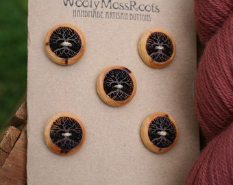5 Wood Tree Buttons- Red Cedar Wood- Wooden Buttons- Eco Craft Supplies, Eco Knitting Supplies, Eco Sewing Supplies