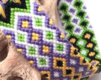 Friendship bracelet - embroidery floss - wide - diamond pattern - yellow, green, black, white, purple - handmade - macrame - woven - string