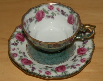 Vtg Pink Rose Hand Painted China Cup and Saucer