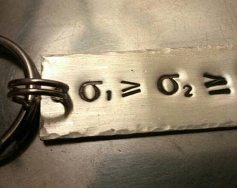 Scientific Formula Keychain - Silver Filled Handstamped Structural Geology Principal Stress Relationship Geoscience Geology Key Ring