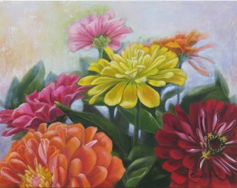 Giclee Print of Zinnia Bouquet Original Oil Painting