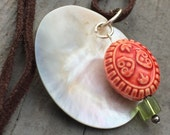 Shell pendant, leather necklace, pendant necklace, natural, organic necklace