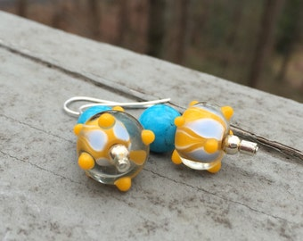 Turquoise bead earrings, turquoise and yellow beaded earrings, bead earrings, dangle earrings, glass bead earrings