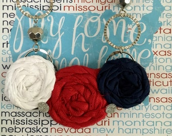 Red, White and Blue Fabric Flower Statement Necklace, Bib Necklace, Rolled Rosette Statement Necklace, Summer Fashion