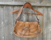 COACH Leather Soho Buckle Flap Shoulder Bag Camel