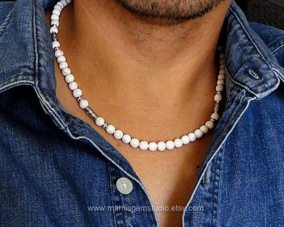 Mens Necklace White Magnesite Stone Necklace For By